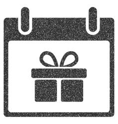Gift box calendar day grainy texture icon vector