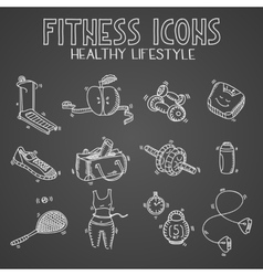 Hand drawn doodle sketch icons set fitness and vector image vector image