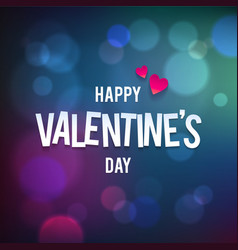 Happy valentine s day bokeh blue background vector