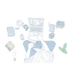 Human with laptop at home sitting on the floor vector