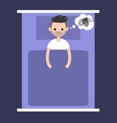 insomnia conceptual young bearded man lying in vector image