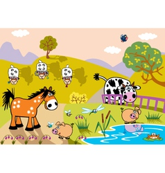 landscape with childish farm animals evening vector image