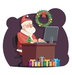 Office Santa Claus Sit Computer Work Table vector image vector image