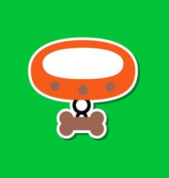 Paper sticker on stylish background dog collar vector