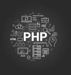 php coding on black vector image