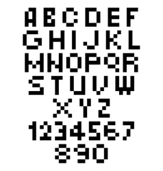 Pixel Font - Alphabets and numerals characters in vector image vector image