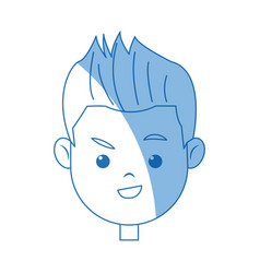 portrait face boy young cartoon vector image