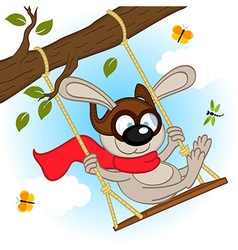 Rabbit on swing on tree branch vector