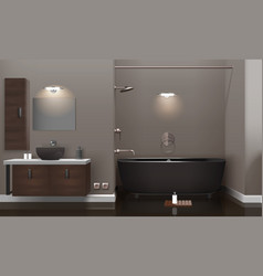 Realistic bathroom interior design vector