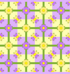 seamless pattern of pink and purple flowers vector image