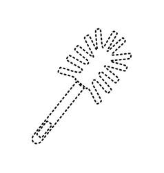 Toilet brush doodle black dashed icon on vector