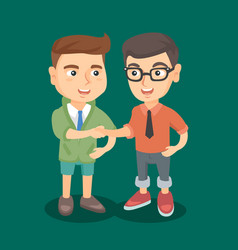 two caucasian business boys shaking hands vector image
