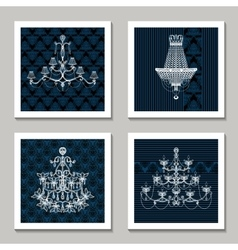 Vintage Chandelier Cards vector image