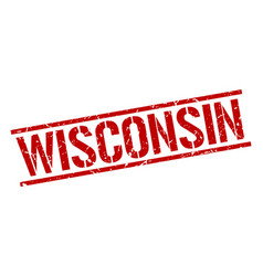 Wisconsin red square stamp vector