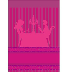 Young couple flirt and drink champagne - vector image vector image