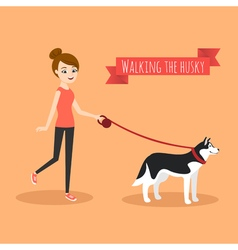 young girl walking with her dog vector image vector image