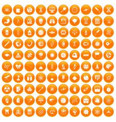 100 science icons set orange vector