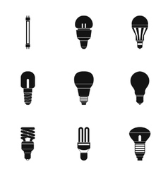 Types of lamps icons set simple style vector