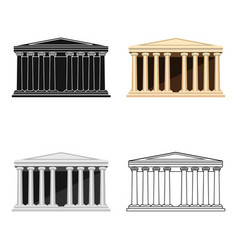 Antique greek temple icon in cartoon style vector