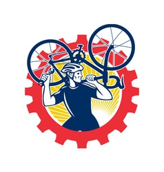 Cyclist bicycle mechanic carrying bike sprocket vector