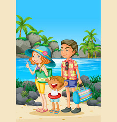 Family trip with parents and kid on the beach vector