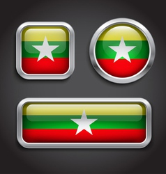 Myanmar flag glass buttons vector image