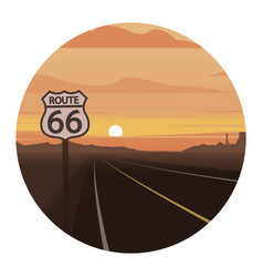 route 66 scene round icon vector image
