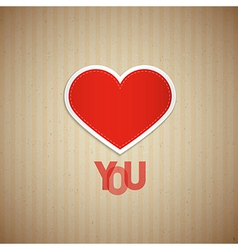 I love you theme heart and title on cardboard vector