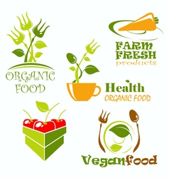 Icons and symbols for organic food vector