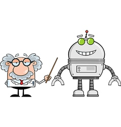 Cartoon scientist with robot vector image