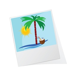 Photo frame with beach icon vector