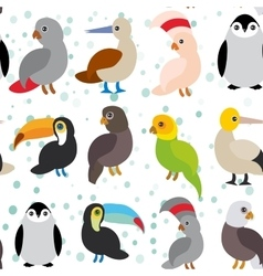 Seamless pattern cute cartoon birds set - gannet vector