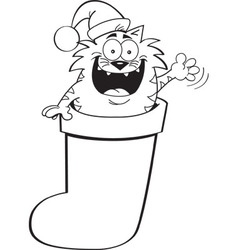 Cartoon cat inside a christmas stocking vector
