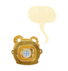 Cartoon old deep sea diver helmet with speech vector