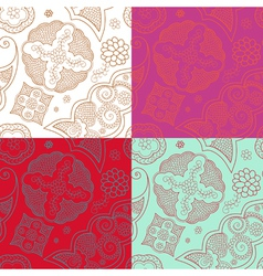 Four indian henna ornament seamless vector