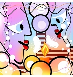 Abstract heads and candle motley version vector
