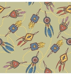 Seamless pattern with dreamcatcher feathers and vector