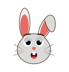 grey avatar rabbit with emotional face vector image