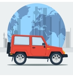 Jeep car on town background vector