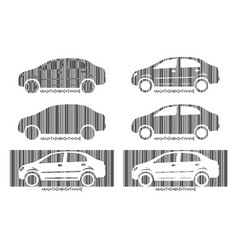 Barcode car set design elements of car market vector