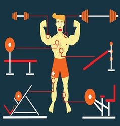 Body building man vector