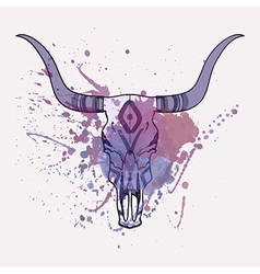 bull skull with watercolor splash vector image