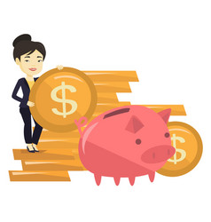 Business woman putting coin in piggy bank vector