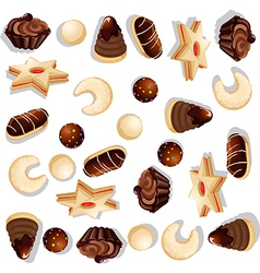 christmas cookie pattern vector image vector image