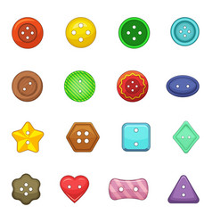 Clothes button icons set cartoon style vector