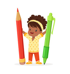 cute black little girl holding giant red pencil vector image
