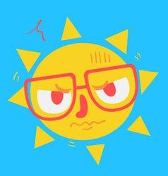 Cute geek sun looking angry vector