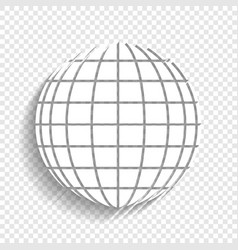 Earth globe sign white icon with soft vector