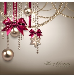 Elegant Christmas background with red ribbons and vector image