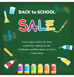 Event back to school sale green chalkboard vector